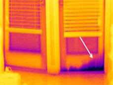 Infrared imaging showing bad weatherstripping
